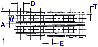 Double Strand Roller Chain Drawing (Top View)