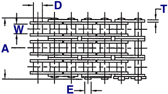 Quad Strand Roller Chain Drawing (Top View)