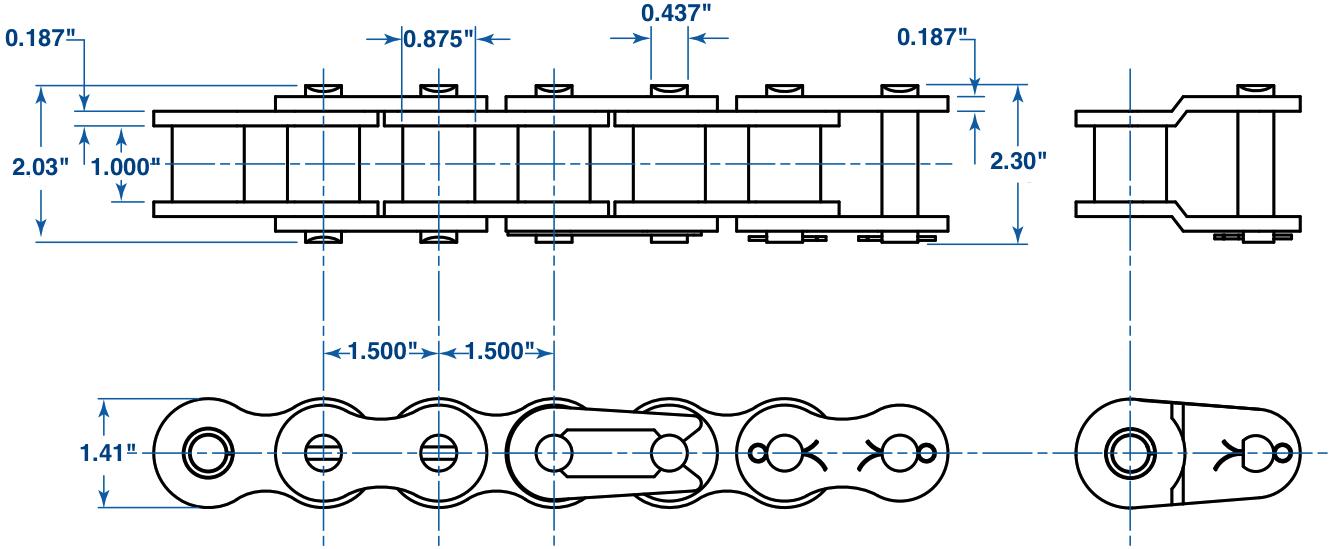 120-1 Roller Chain 10 feet in length