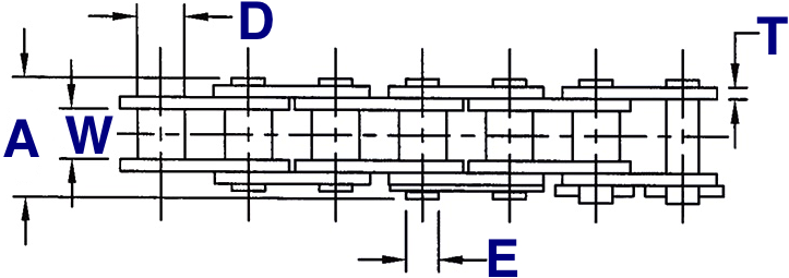 Single Strand Heavy Roller Chain Drawing (Top View)