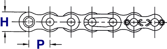 Quad Strand Roller Chain Drawing (Side View)